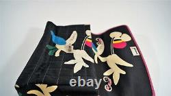 2000 Special Edition CHANEL Black Quilted Multi-color Floral Silk Jumbo Flap Bag