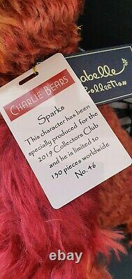 CHARLIE BEARS SPARKS PHOENIX BIRD 2019 RETIRED BFC limited edition 130 VERY RARE