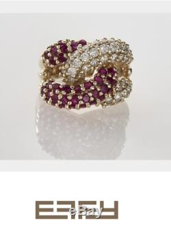 NEW / Rare Retired Limited Edition EFFY Knot Ring / 3 CT Diamond & AAA Ruby