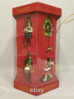 Set of 12 Fitz & Floyd 12 Days of Christmas Ornaments In Box LTD Edition Retired
