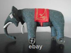 Steiff Limited Edition Replica Of A 1914 Felt Elephant On Wheels
