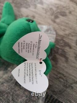 Ty Original Beanie Babies'Erin' Green Bear RARE with errors. Limited Edition